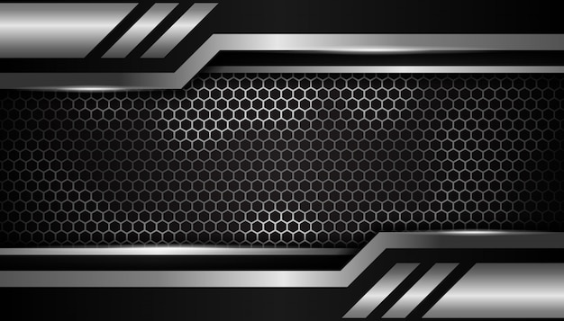 Fond de sport de luxe hexagone argent