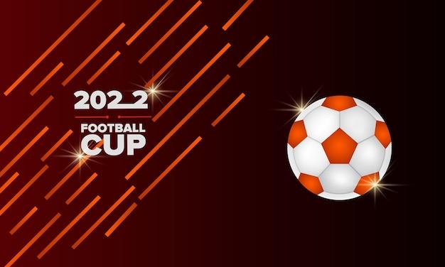 Fond de sport noir et orange avec ballon de football et rubans illustration vectorielle réaliste