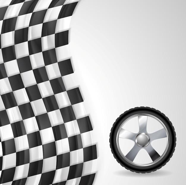 Fond de sport avec roue et drapeau d'arrivée. conception de vecteur