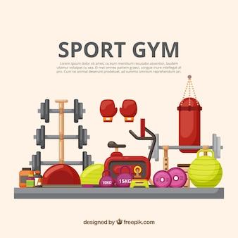 Fond de sport de sport avec des machines d'exercice
