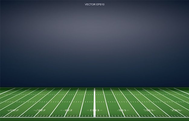 Fond de stade de football américain avec motif de ligne de perspective de terrain en herbe