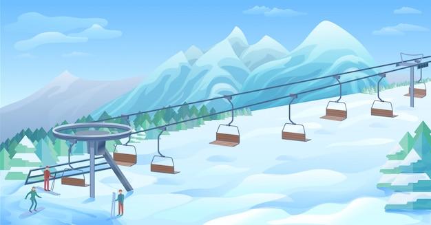Fond de station de plein air d'hiver