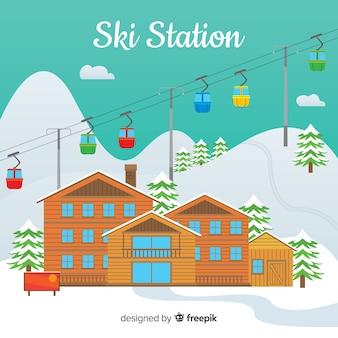 Fond de station de ski