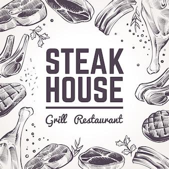 Fond de steak house avec de la viande de croquis