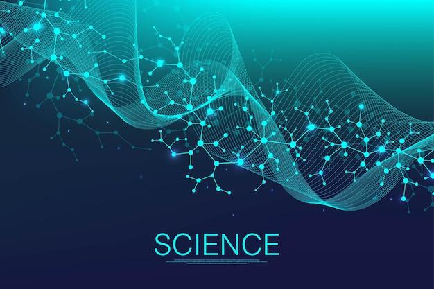 Fond de structure moléculaire ou bannière avec des molécules d'adn. illustration vectorielle
