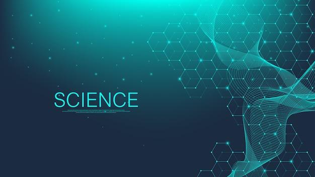 Fond de structure moléculaire. fond d'écran de modèle scientifique ou bannière avec une molécule d'adn