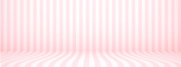 Fond de studio rose pastel avec rayures, horizontal, style rétro, illustration.