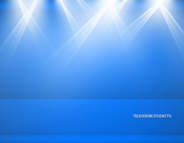 Fond de studio. studio bleu vide de vecteur pour votre conception, projecteur. graphiques vectoriels