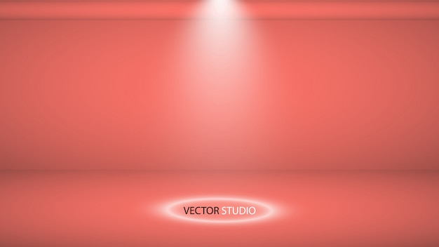 Fond de studio. studio de corail vivant vide de vecteur pour votre conception, projecteur. graphiques vectoriels