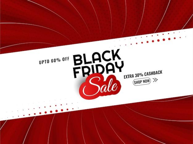 Fond de style bande dessinée rouge vente vendredi noir