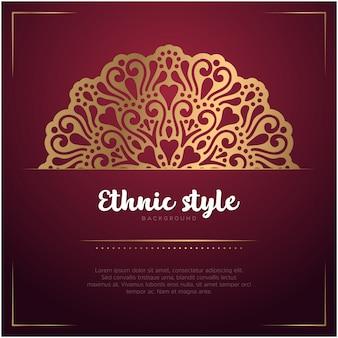 Fond de style ethnique avec mandala et modèle de texte, couleur rouge et or