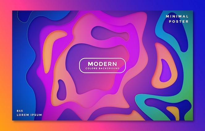 Fond avec style de formes de découpe de papier coloré