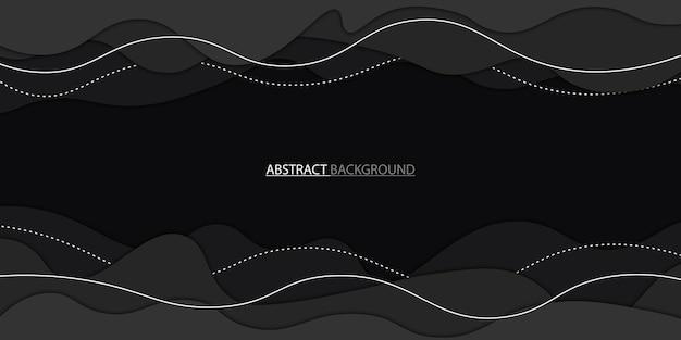 Fond de style papier découpé noir avec des lignes blanches illustration vectorielle