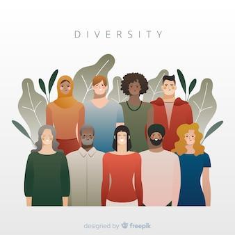 Fond de style plat concept de diversité