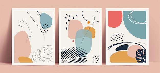 Fond de style terrazzo abstrait serti de couleurs et de formes géométriques dessinées à la main de couleur pastel et de silhouettes de feuilles tropicales. fonctionne pour les impressions de décoration murale ou la couverture de livre ou la conception de flyers ou de menus.