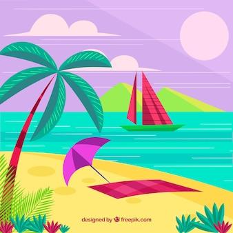 Fond de summe avec île paradisiaque