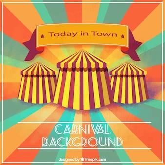 Fond sunburst avec des tentes de cirque