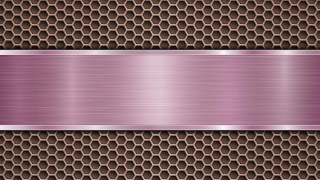 Fond de surface métallique perforée en bronze avec des trous et une plaque polie violette horizontale avec une texture métallique, des reflets et des bords brillants
