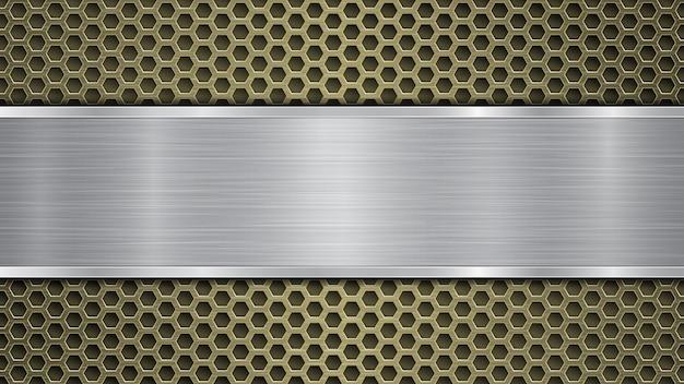 Fond de surface métallique perforée dorée avec des trous et une plaque polie horizontale argentée avec une texture métallique, des reflets et des bords brillants