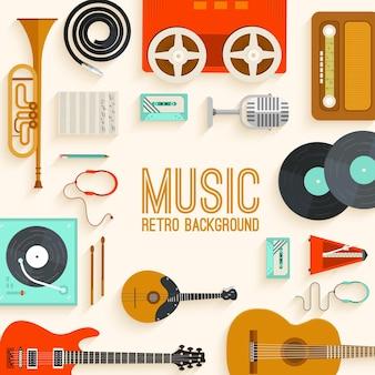 Fond de table d'équipement de studio de musique vintage sur le concept de style ancien