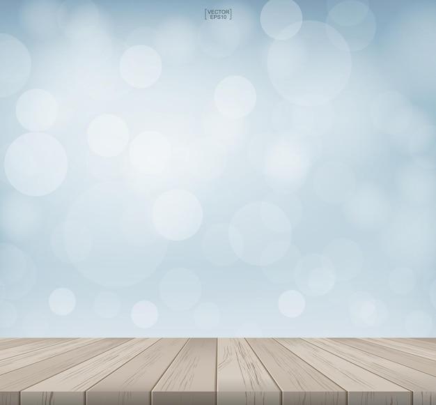 Fond de table avec perspective de motif et de texture en bois. terrasse avec bokeh flou léger utilisé pour le montage ou l'affichage du produit. illustration vectorielle.