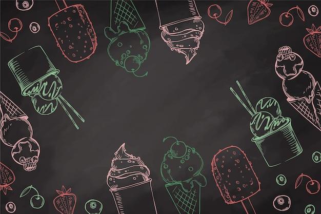 Fond de tableau noir de crème glacée colorée
