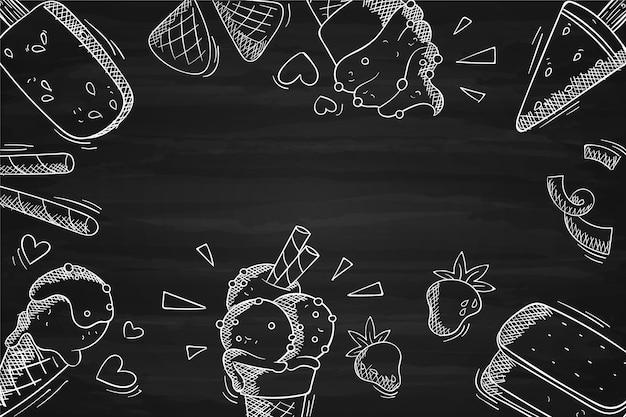Fond de tableau noir de crème glacée dessiné à la main
