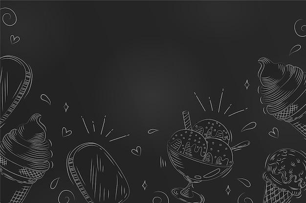 Fond de tableau noir de crème glacée dessinée à la main de gravure