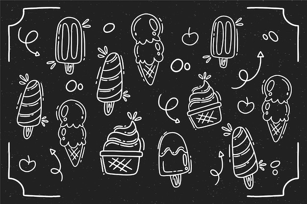 Fond de tableau noir de crème glacée de style dessiné à la main