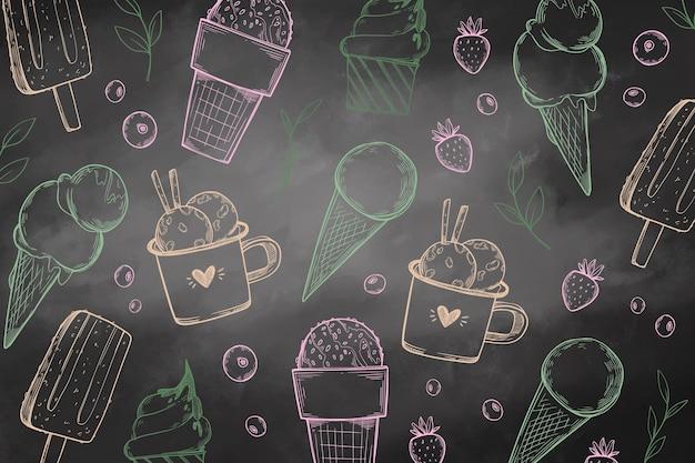 Fond de tableau noir de crème glacée