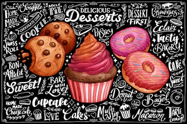 Fond de tableau noir avec des desserts