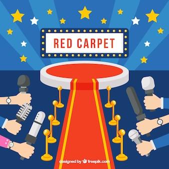 Fond de tapis rouge dans un style plat