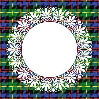 Fond tartan écossais avec cadre rond en dentelle blanche