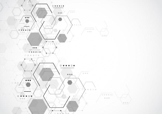 Fond de tech abstrait de structure moléculaire