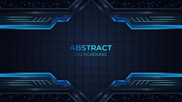 Fond technique géométrique bleu abstrait moderne avec une forme élégante et décoration d'élément de points de paillettes scintillantes