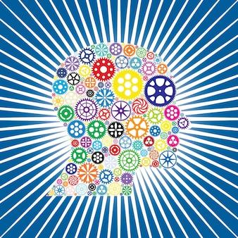 Fond techno coloré avec tête humaine et engrenages
