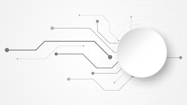 Fond de technologie abstrait blanc gris avec divers éléments technologiques communication de haute technologie