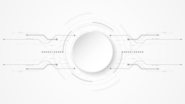 Fond de technologie abstrait blanc gris avec divers éléments technologiques fond d'innovation concept communication hi-tech cercle espace vide pour votre texte