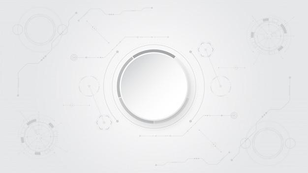 Fond de technologie abstraite blanc gris avec divers éléments technologiques hi-tech communication concept innovation background cercle espace vide pour votre texte