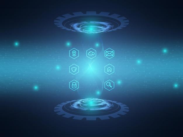 Fond de technologie abstraite circuit bleu avec icône de communication de données