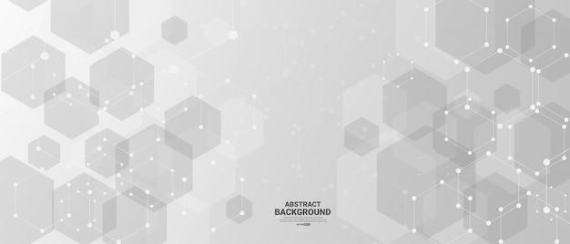 Fond de technologie abstraite avec des formes hexagonales.