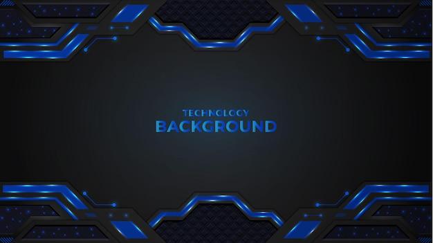 Fond de technologie abstraite avec des formes et des lumières de couleur bleue et dégradée.