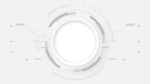 Fond de technologie abstraite gris blanc, connexion numérique hi tech, communication, concept de haute technologie, science, fond de technologie