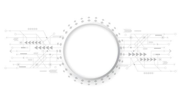 Fond de technologie abstraite gris blanc, connexion numérique hi tech, communication, haute technologie