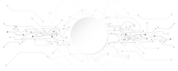 Fond de technologie abstraite gris blanc avec divers éléments technologiques communication hitech