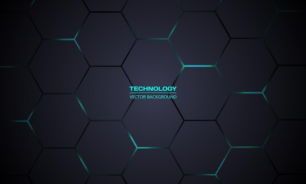 Fond de technologie abstraite hexagonale gris foncé et turquoise