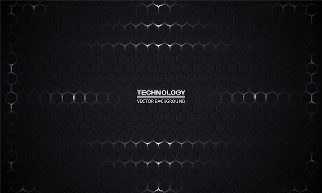 Fond de technologie abstraite hexagonale sombre. grille de texture en nid d'abeille noir.
