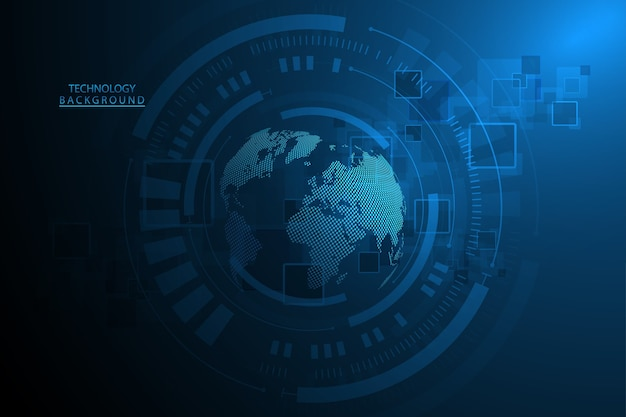 Fond de technologie abstraite hi-tech communication concept fond d'innovation numérique futuriste pour le web global, connexion, science.