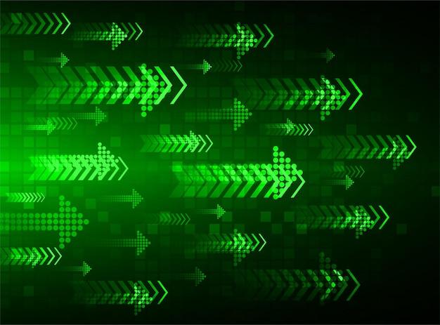 Fond de technologie abstraite lumière flèche verte