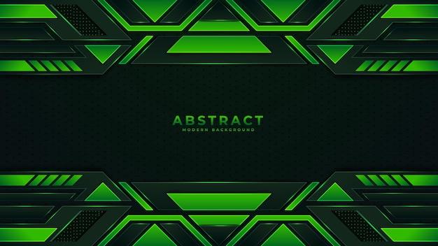 Fond de technologie abstraite moderne avec des rayures néon noires et vertes
